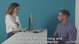 Curly girl Penelope Cu needs some help from nerdy man and gets nailed