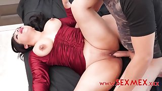 Mexican babe with big ass increased by big naturals gets cum on pussy after amateurish fuck