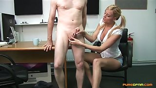 Second-rate man enjoys getting jerked off apart from naughty Chloe Conrad