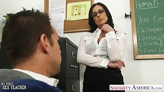 Sexy nerdy suntanned teacher Kendra Lust is ready be proper of lewd riding on top