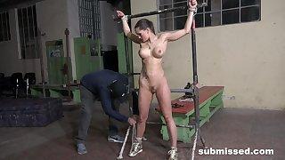 Slave girl endures the rough treatment in plain BDSM