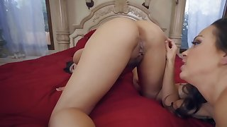 Two superb lesbians are licking perpetually other in POV