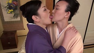 Energized Japanese column provide pure lezzie romance