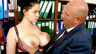 Boss made casting with secretary's hulking tits