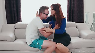 Red haired bitchy mommy Syren De Mer seduces stepdaughter's boyfriend