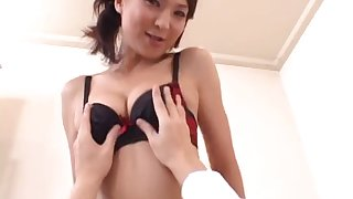 Horny Asian chic gets her legs wide facilitating hardcore bonking on her hairy pussy