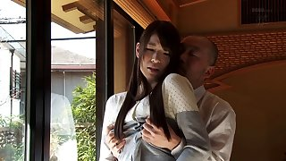 Mio Kayama in down in the mouth lingeried and stockings getting gangbanged