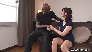Nerdy bald black shine enjoys cute Japanese girl Tomoka Sakurai flashing her cunt