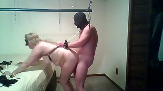 Fat old bag with huge gut is getting fucked by a masked pervert